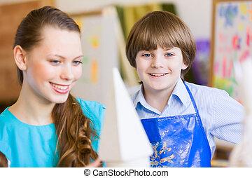 pintura, niños, profesor