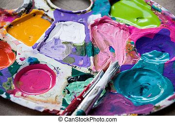 pintura, paleta, e, arte, escovas