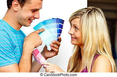 pintura, pareja, nuevo, color, muestras, decoración,...