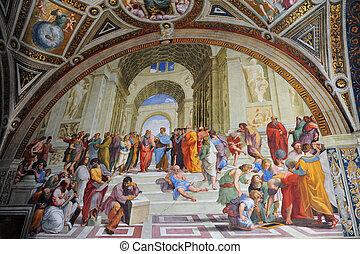 pintura, por, artista, rafael, en, vaticano, roma, italia