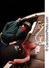 pintura, pulverizador, máscara, lata, homem
