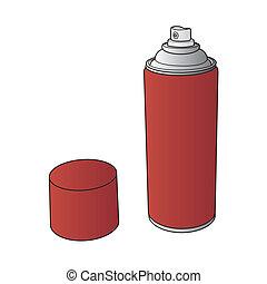 pintura, pulverizador, vetorial, lata