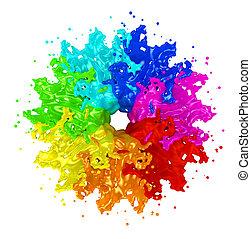 pintura, respingue, branca, isolado, coloridos