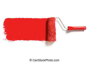 pintura, rojo, rodillo