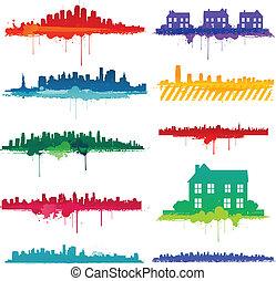 pintura, splat, cidade, desenho