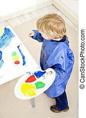 pintura, un, semáforo