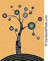 pintura, vector, árbol, estilo, punto, aborigen, painting., ilustración, árbol., arte, basado