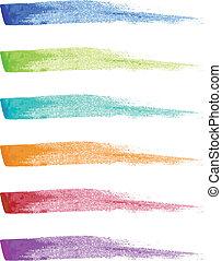 pintura, vector, conjunto, aplopejías de pincel