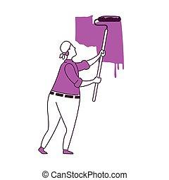 pintura, vector, pared, ilustración