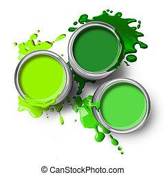 pintura, verde, latas, esguichos