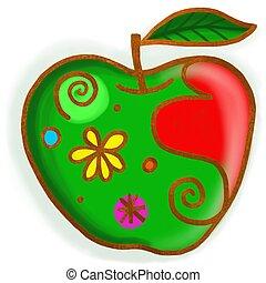 Pintura, verde, manzana, garabato