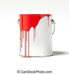 pintura vermelha, manchas, ligado, um, branca, vazio, can., 3d, fazendo