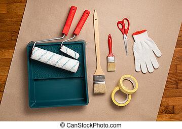 pintura, vista, juego herramientas, cima