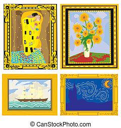 pinturas al óleo, con, imaginación, marcos