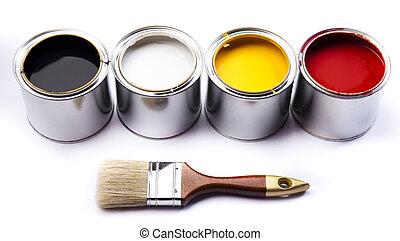pinturas, latas, colorido, y
