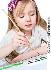 pinturas, niña, cepillo