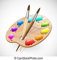 pinturas, paleta, arte, wirh, cepillos