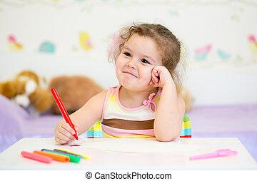 pinturas, poco, guardería infantil, niña, hogar