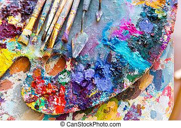 pinturas, primer plano, colorido, mezclado, arte, paleta, ...