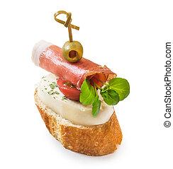 pintxos, fromage, jamon