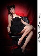 pinup, 스타일, 소녀, 에서, 검은 드레스