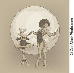 Pinup circus artist  illusionist