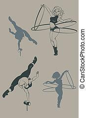 pinup, cirkus, artist., silhuet, inkpen.