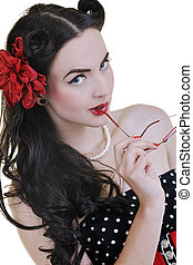 pinup fashion - pretty happy young pinup girl isolated on ...