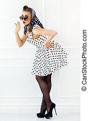 Pinup. Girl in cute dress
