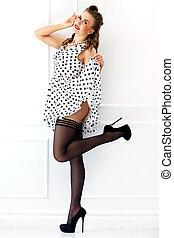 Pinup. Girl in cute dress - Pinup. Beautiful woman on heels