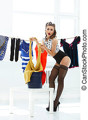 Pinup. Girl in pantyhose - Pinup. Beautiful woman on heels