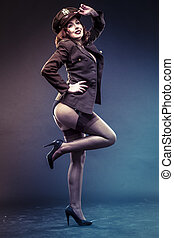 pinup girl in sexy clothes era of World War II