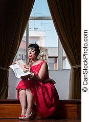 pinup, girl lezen, een, romantische, brief