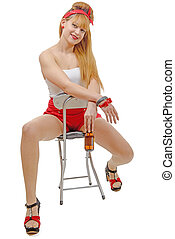 pinup girl sitting on a chair with a beer