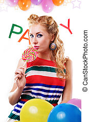 Pinup girl with lollipop, baloons and party word