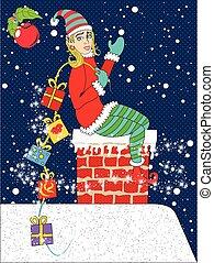 pinup, natale, elfo, con, regali