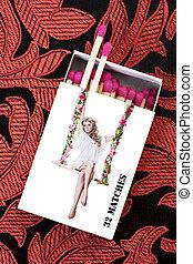 pinup, ragazza, matchstick, scatola