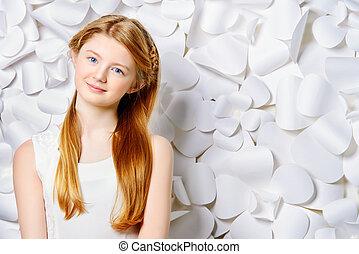pinup teen - Beautiful blonde teen girl wearing white dress ...