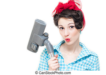 Pinup woman and vacuum cleaner - Beautiful funny pinup woman...