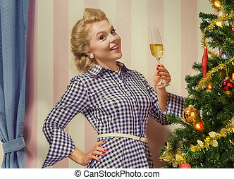 pinup x-mas - portrait of nice young woman hanging around...