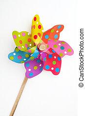 pinwheel, giocattolo, fondo, colorito, bianco