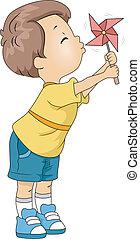 Pinwheel Kid - Illustration of a Kid Playing with a Pinwheel