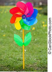 Pinwheel on green grass