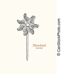 pinwheel , paper windmill hand draw sketch vector.
