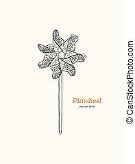 pinwheel , paper windmill hand draw sketch vector.