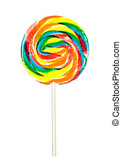 Pinwheel sucker - A candy pinwheel sucker isolated on a...