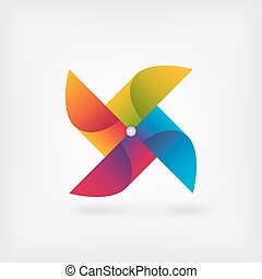 pinwheel symbol in rainbow colors
