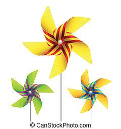 Pinwheel toy - Vector illustration of a pinwheel toy