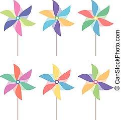 pinwheel, vecteur, ensemble, coloré
