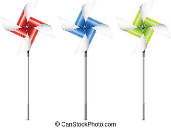 Pinwheel - Three color pinwheel toys on white, vector...